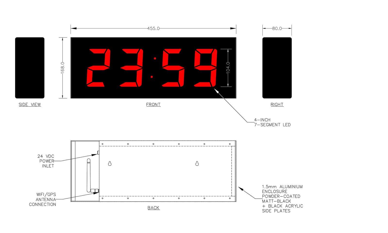GPS Clocks: 24H Time Display w Second, Colon & Temperature